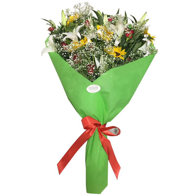 Ανθοδέσμη με λευκό οριεντάλ, κόκκινα τριαντάφυλλα και ηλιοτρόπια